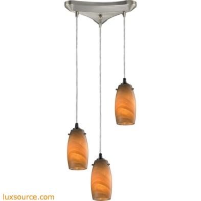 Favelita 3 Light Pendant In Satin Nickel And Honey Melon Glass 10223/3MEL