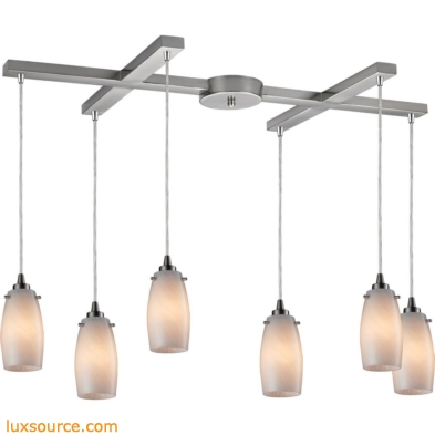 Favelita 6 Light Pendant In Satin Nickel And Cocoa Glass 10223/6COC