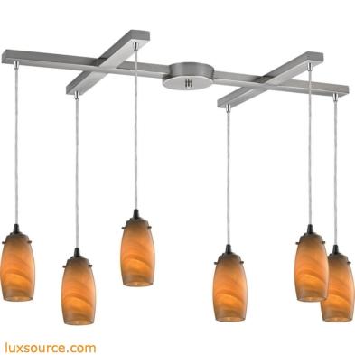 Favelita 6 Light Pendant In Satin Nickel And Honey Melon Glass 10223/6MEL