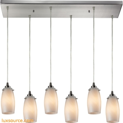 Favelita 6 Light Pendant In Satin Nickel And Cocoa Glass 10223/6RC-COC