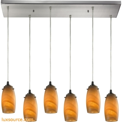 Favelita 6 Light Pendant In Satin Nickel And Honey Melon Glass 10223/6RC-MEL
