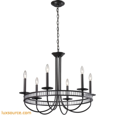 Braxton 6 Light Chandelier In Aged Bronze And Clear Ribbed Glass