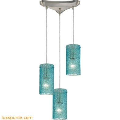 Ice Fragments 3 Light Pendant In Satin Nickel And Aqua Glass 10242/3AQ
