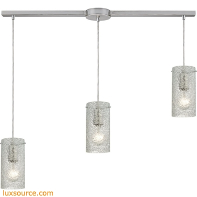 Ice Fragments 3 Light Pendant In Satin Nickel And Clear Glass 10242/3L-CL
