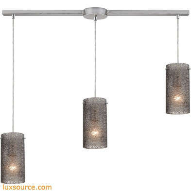 Ice Fragments 3 Light Pendant In Satin Nickel And Smoke Glass 10242/3L-SM