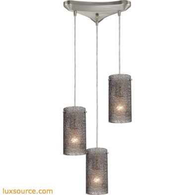 Ice Fragments 3 Light Pendant In Satin Nickel And Smoke Glass 10242/3SM
