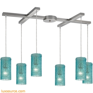 Ice Fragments 6 Light Pendant In Satin Nickel And Aqua Glass 10242/6AQ