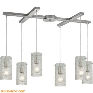 Ice Fragments 6 Light Pendant In Satin Nickel And Clear Glass 10242/6CL