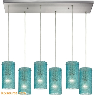 Ice Fragments 6 Light Pendant In Satin Nickel And Aqua Glass 10242/6RC-AQ
