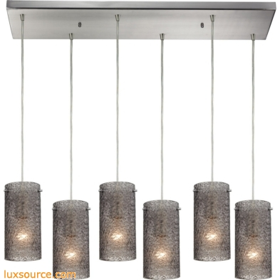 Ice Fragments 6 Light Pendant In Satin Nickel And Smoke Glass 10242/6RC-SM