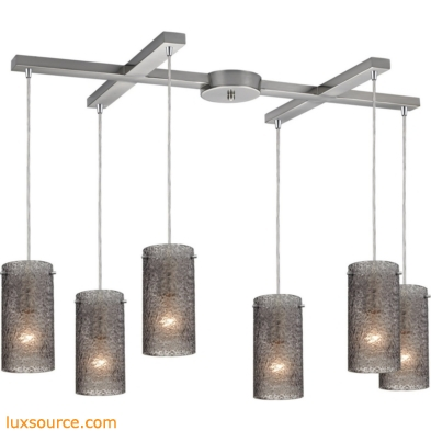 Ice Fragments 6 Light Pendant In Satin Nickel And Smoke Glass 10242/6SM