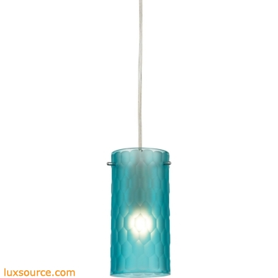 Synthesis 1 Light Pendant In Satin Nickel And Frosted Aqua Glass 10243/1FA