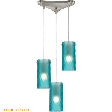 Synthesis 3 Light Pendant In Satin Nickel And Frosted Aqua Glass 10243/3FA