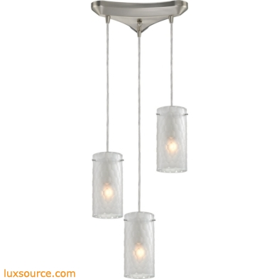 Synthesis 3 Light Pendant In Satin Nickel And Frosted Clear Glass 10243/3FC