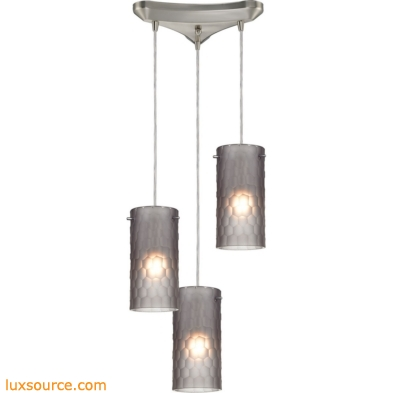 Synthesis 3 Light Pendant In Satin Nickel And Frosted Smoke Glass 10243/3FSM