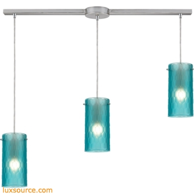 Synthesis 3 Light Pendant In Satin Nickel And Frosted Aqua Glass 10243/3L-FA