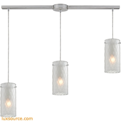 Synthesis 3 Light Pendant In Satin Nickel And Frosted Clear Glass 10243/3L-FC