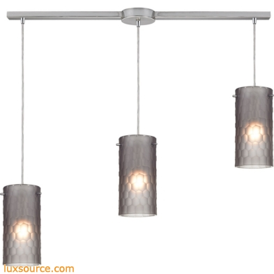 Synthesis 3 Light Pendant In Satin Nickel And Frosted Smoke Glass 10243/3L-FSM