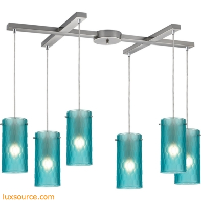 Synthesis 6 Light Pendant In Satin Nickel And Frosted Aqua Glass 10243/6FA