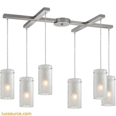Synthesis 6 Light Pendant In Satin Nickel And Frosted Clear Glass 10243/6FC