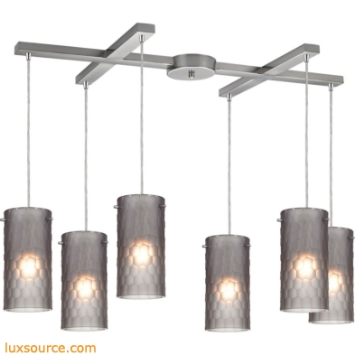 Synthesis 6 Light Pendant In Satin Nickel And Frosted Smoke Glass 10243/6FSM