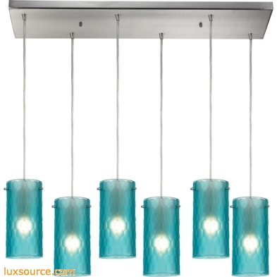 Synthesis 6 Light Pendant In Satin Nickel And Frosted Aqua Glass 10243/6RC-FA