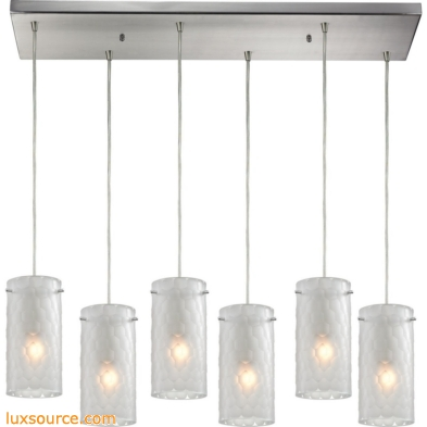 Synthesis 6 Light Pendant In Satin Nickel And Frosted Clear Glass 10243/6RC-FC