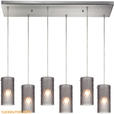 Synthesis 6 Light Pendant In Satin Nickel And Frosted Smoke Glass 10243/6RC-FSM