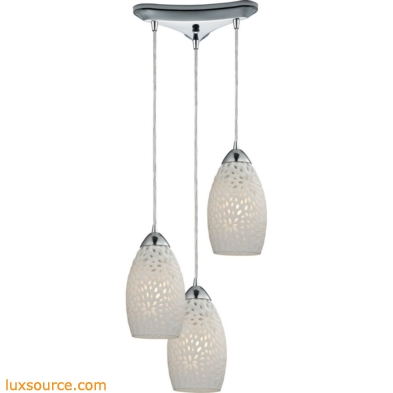 Etched Glass 3 Light Pendant In Polished Chrome And White Etched Glass 10245/3