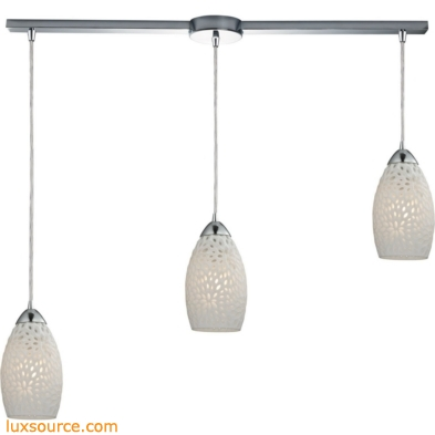 Etched Glass 3 Light Pendant In Polished Chrome And White Etched Glass 10245/3L