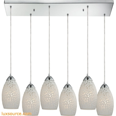 Etched Glass 6 Light Pendant In Polished Chrome And White Etched Glass 10245/6RC