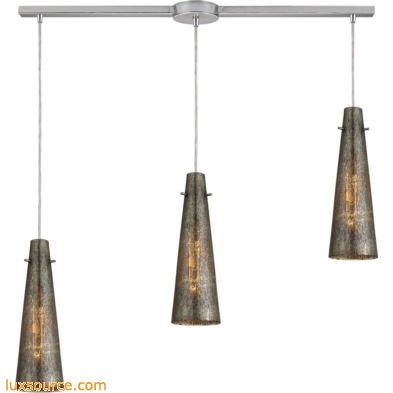 Rury 3 Light Pendant In Satin Nickel And Mercury Glass 10247/3L