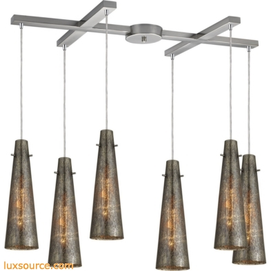Rury 6 Light Pendant In Satin Nickel And Mercury Glass 10247/6
