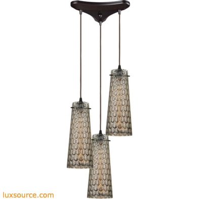 Jerard 3 Light Pendant In Oil Rubbed Bronze And Mercury Glass 10248/3