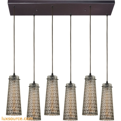 Jerard 6 Light Pendant In Oil Rubbed Bronze And Mercury Glass 10248/6RC
