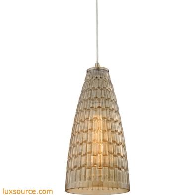 Mickley 1 Light Pendant In Satin Nickel And Amber Teak Glass 10249/1