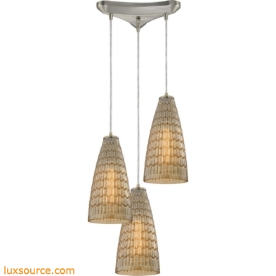 Mickley 3 Light Pendant In Satin Nickel And Amber Teak Glass 10249/3