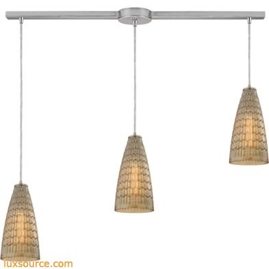 Mickley 3 Light Pendant In Satin Nickel And Amber Teak Glass 10249/3L