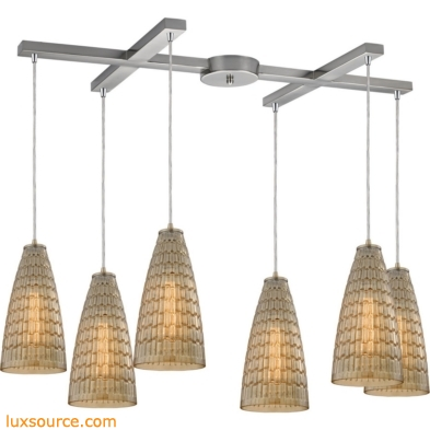 Mickley 6 Light Pendant In Satin Nickel And Amber Teak Glass 10249/6