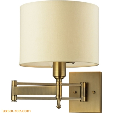 Pembroke 1 Light Swingarm Sconce In Brushed Antique Brass 10260/1
