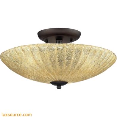 Luminese 3 Light Semi Flush In Aged Bronze
