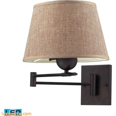 Swingarms 1 Light LED Swingarm Sconce In Aged Bronze With Tan Shade