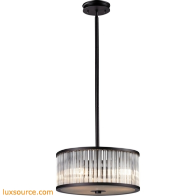 Braxton 3 Light Pendant In Aged Bronze And White Etched Glass