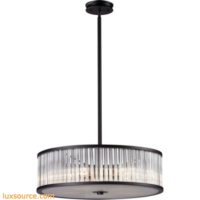 Braxton 5 Light Pendant In Aged Bronze And White Etched Glass