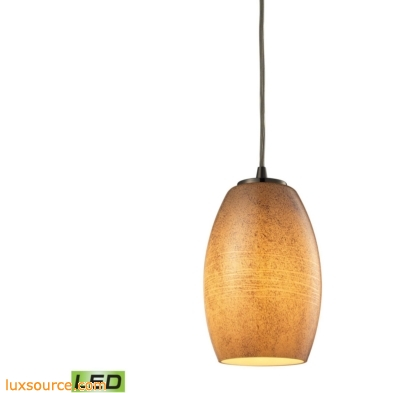 Andover 1 Light LED Pendant In Satin Nickel And Textured Beige Glass 10330/1TB-LED