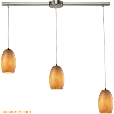 Andover 3 Light Pendant In Satin Nickel And Textured Beige Glass 10330/3L-TB