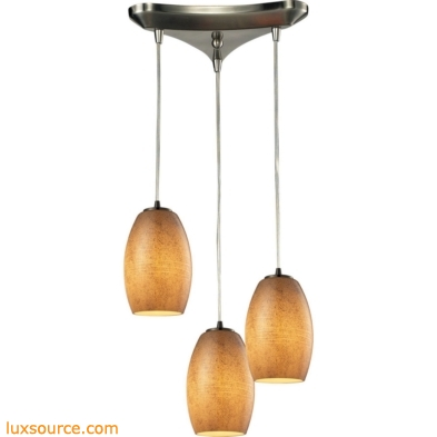 Andover 3 Light Pendant In Satin Nickel And Textured Beige Glass 10330/3TB