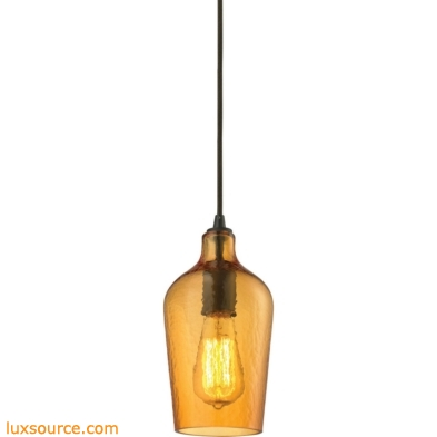 Hammered Glass 1 Light Pendant In Oil Rubbed Bronze And Amber Glass 10331/1HAMB