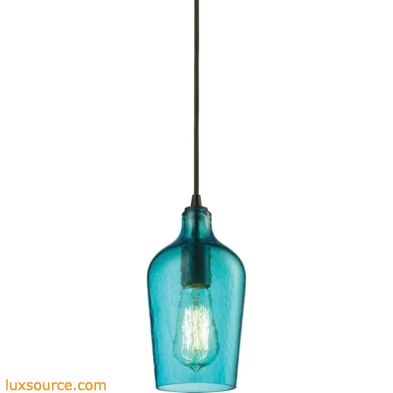 Hammered Glass 1 Light Pendant In Oil Rubbed Bronze And Aqua Glass 10331/1HAQ