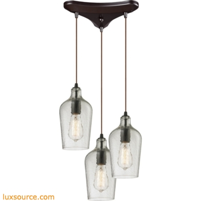 Hammered Glass 3 Light Pendant In Oil Rubbed Bronze And Clear Glass 10331/3CLR